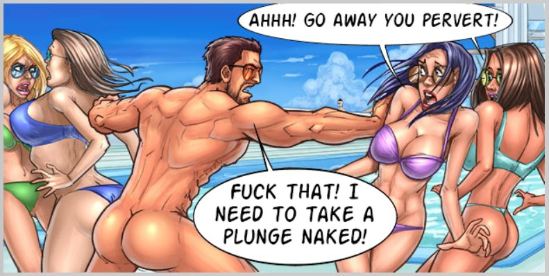 need to take a plunge naked in this sex cartoon game! Go away you ...