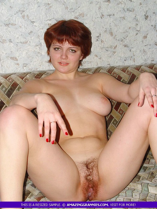 hairy russian mature is happy to expose her hirsute vagina and spread