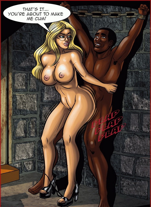 Black girl white men cartoon porn comic