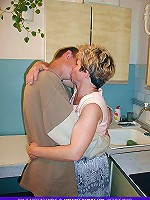Older mature granny from russia persuaded by a neighbor boy into fucking her on a kitchen table deep in the ass