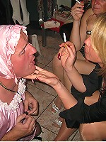 Nasty MILFs dominating sissy dudes in all possible humiliating ways