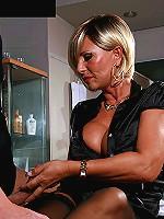 Gorgeous busty MILF enjoys sex fun with huge cock cumming on her ass