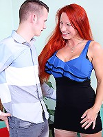 Horny big breasted british milf playing with her toy boy