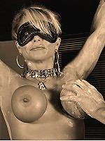 Tit play with a hot blindfolded mature bitch