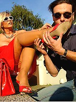 Horny domina blonde cougar gets her feet cleaned and worshiped by her kinky dude