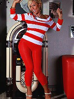Beautiful Lady Barbara in red leggings is ready for sex