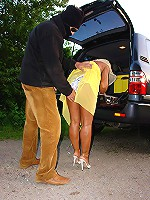 Awesome MILF hard ass fucked by the car with huge hard dork