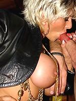 Kinky blonde MILF deepthroat blows bug hard cock in condom