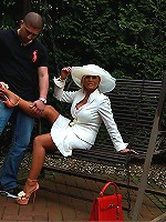 Kinky old babe is demonstrating foot fetish skills outdoors
