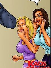 Trouble-free erotic comics girl party is added with a hot black police stud for strip show!