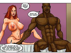 Splendid full-figured redhead is going wild in a black sex cartoon